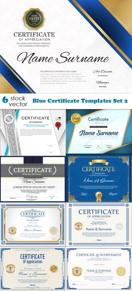 Vectors - Blue Certificate Templates Set 2