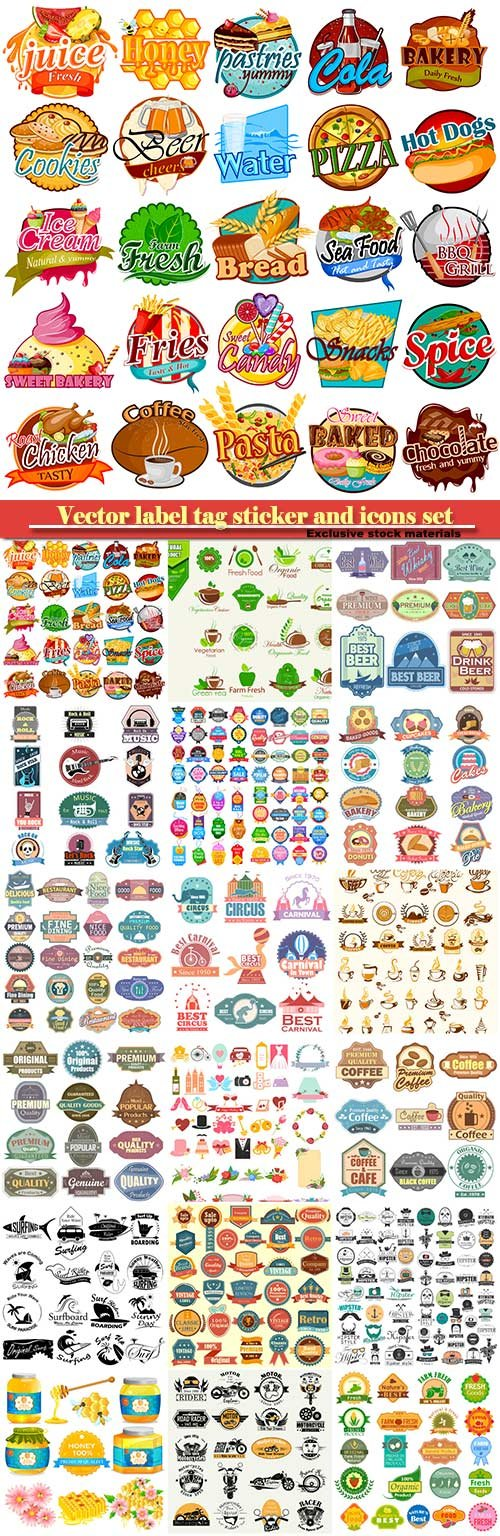 Vector label tag sticker and icons set