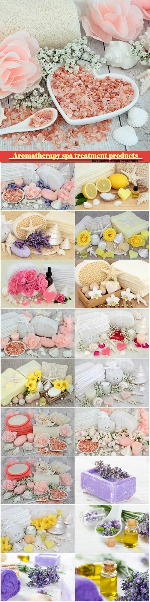 Aromatherapy spa treatment products with moisturiser, essence, freesia flowers, lavender flowers, shells and pearls