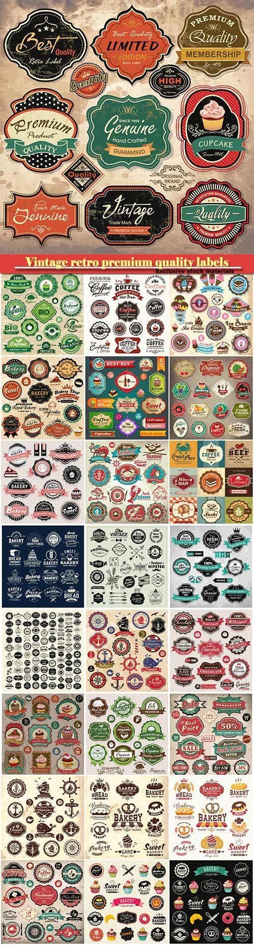 Collection of vintage retro premium quality labels