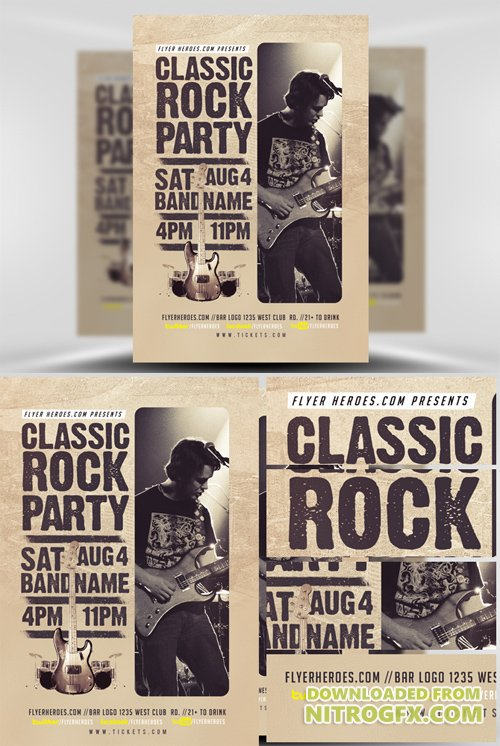 Flyer Template Classic Rock Bands