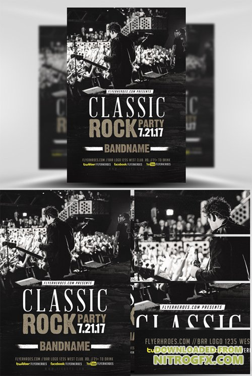 Flyer Template Classic Rock Bands  V2