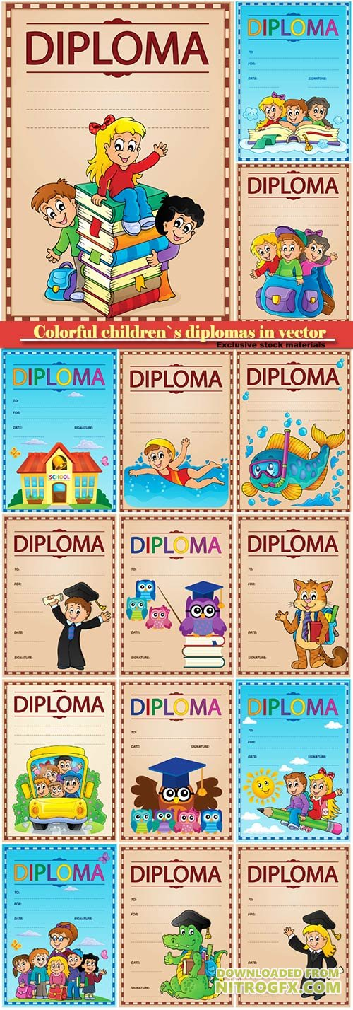 Colorful children`s diplomas in vector