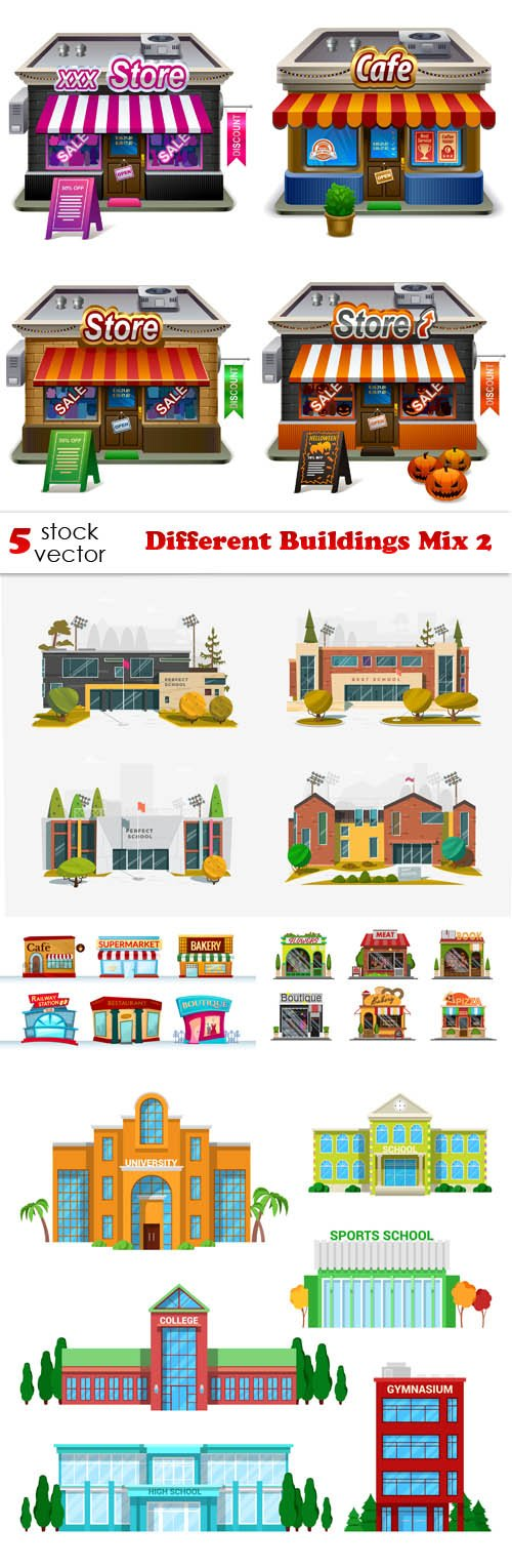 Vectors - Different Buildings Mix 2