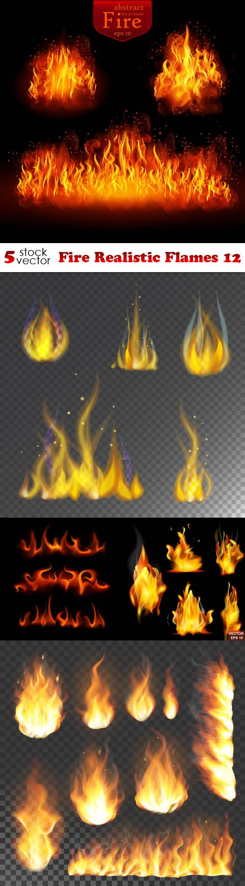 Vectors - Fire Realistic Flames 12