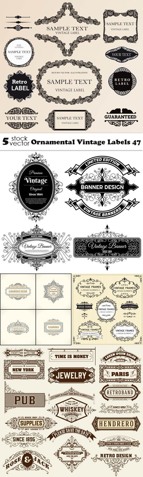 Vectors - Ornamental Vintage Labels 47
