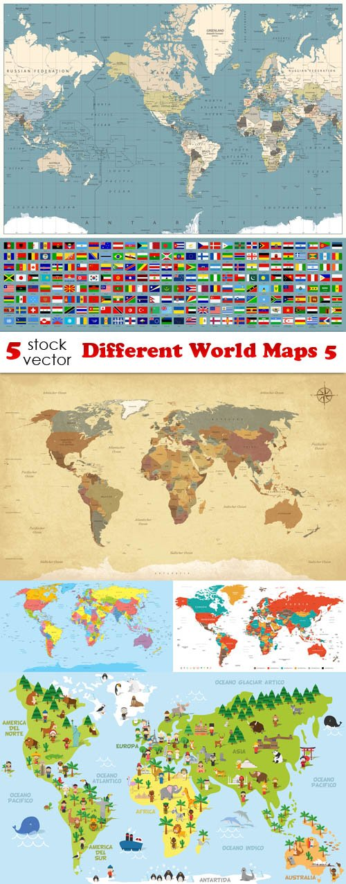 Vectors - Different World Maps 5