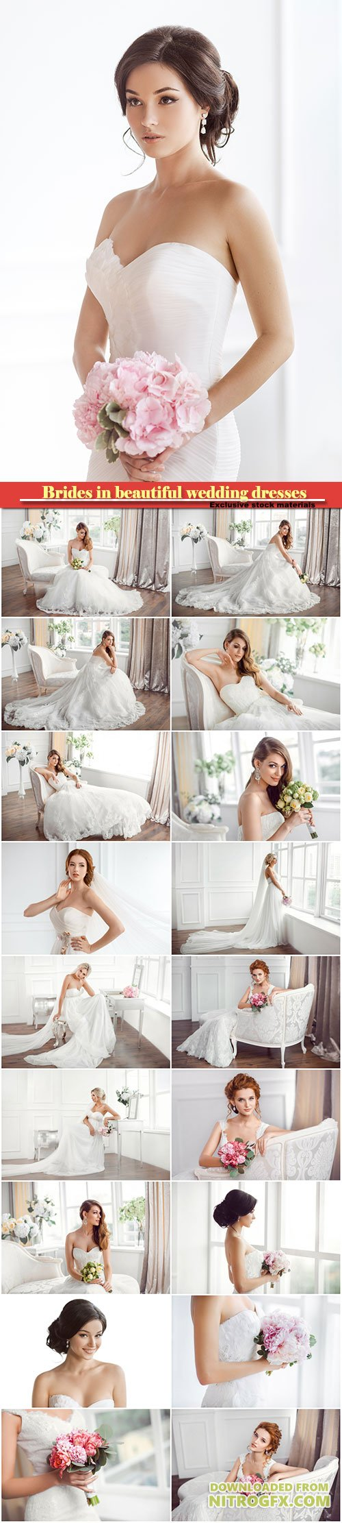 Charming brides in beautiful wedding dresses