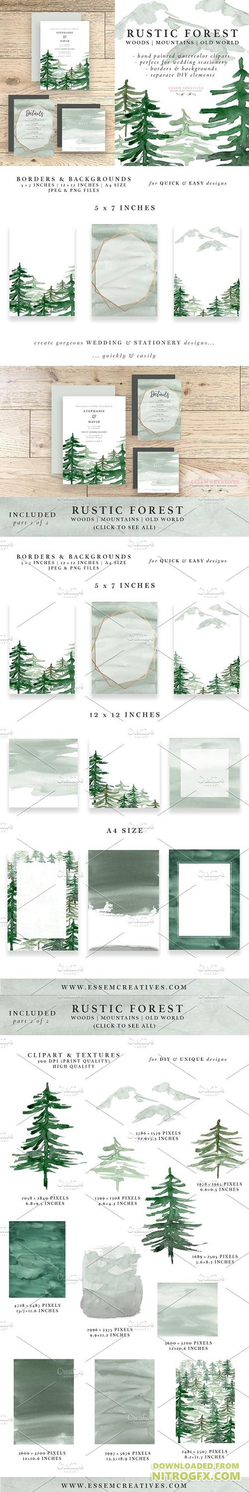 CM - Rustic Forest Watercolor Backgrounds 1694418
