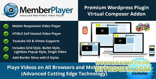 CodeCanyon - Visual Composer Addon: MemberPlayer HTML5 Video, Youtube, & Vimeo v1.13.0 - 10559705