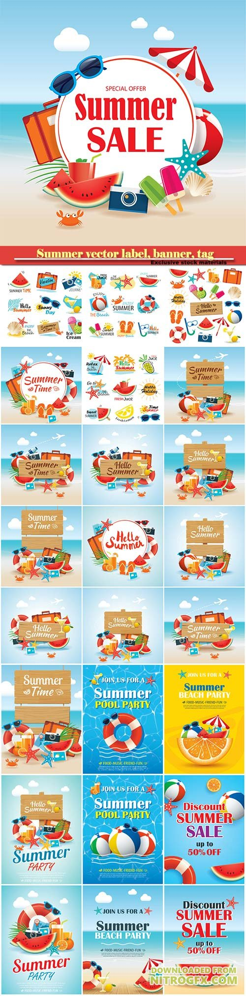 Summer vector label, banner, tag and elements background set