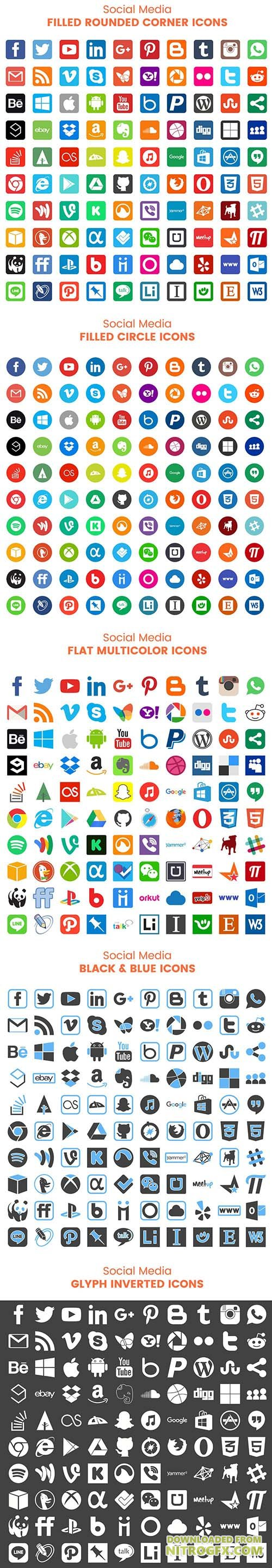 EPS, CDR, PNG Vector Web Icons - Social Media Icons Bundle 2017