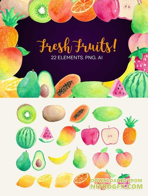CM - Watercolor Fruits Clip Art 1722383
