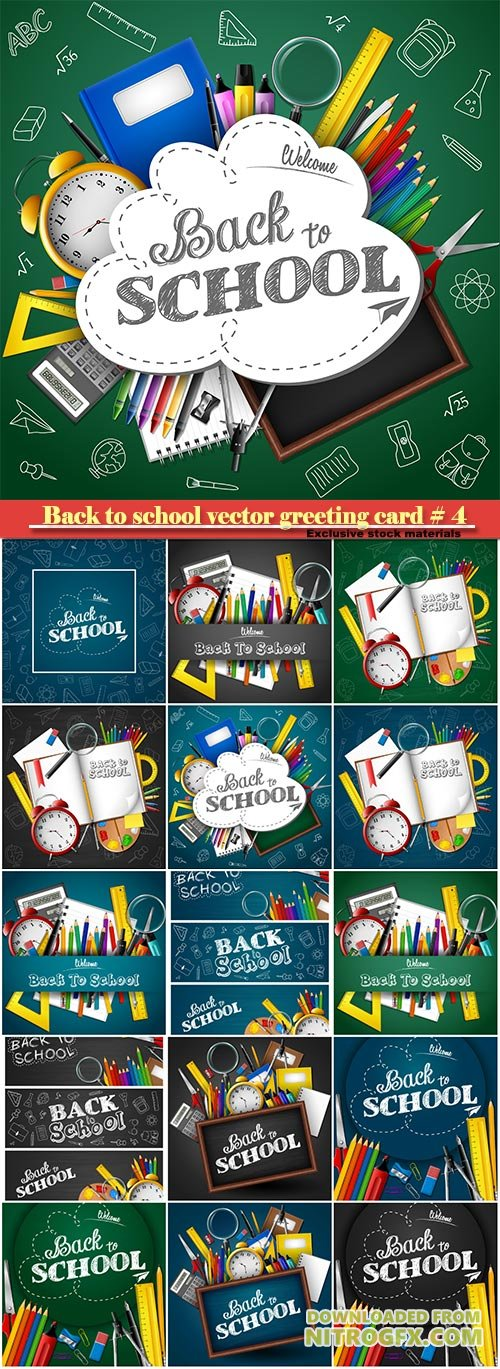 Back to school vector greeting card # 4