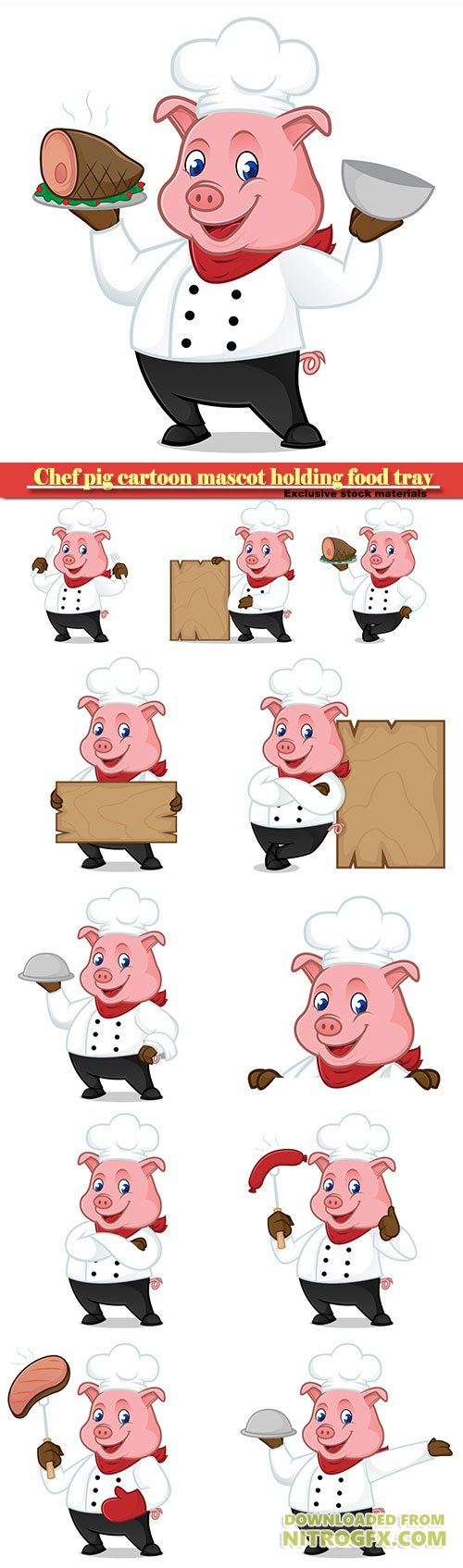 Chef pig cartoon mascot holding food tray