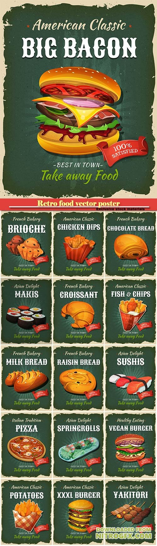 Retro food vector poster, burger, sushi, chicken-dips, pizza