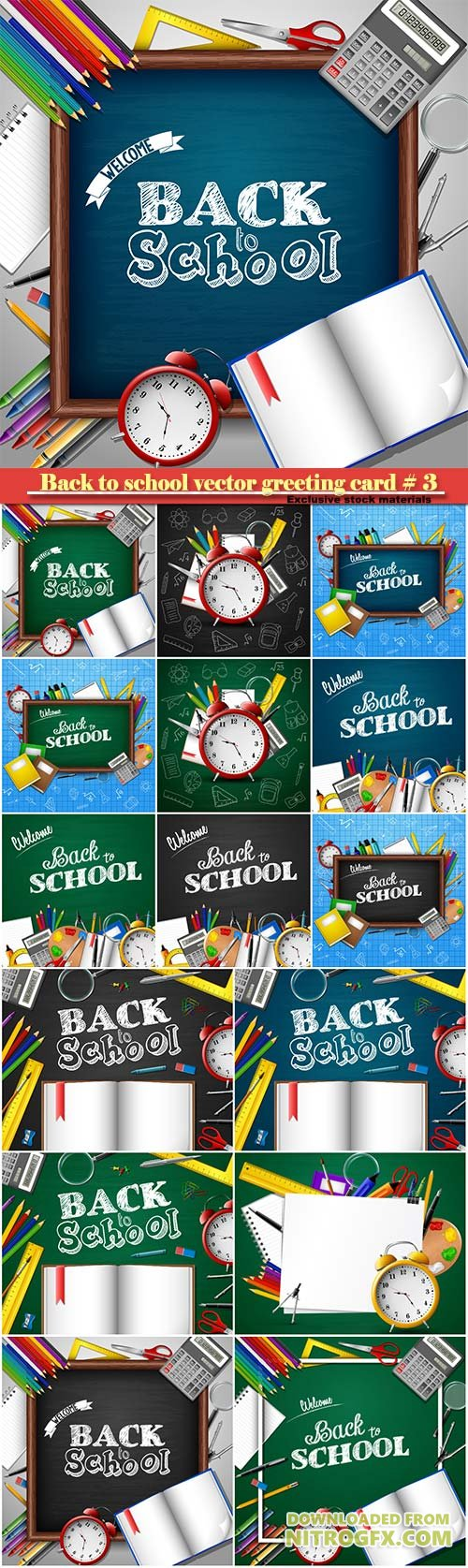 Back to school vector greeting card # 3