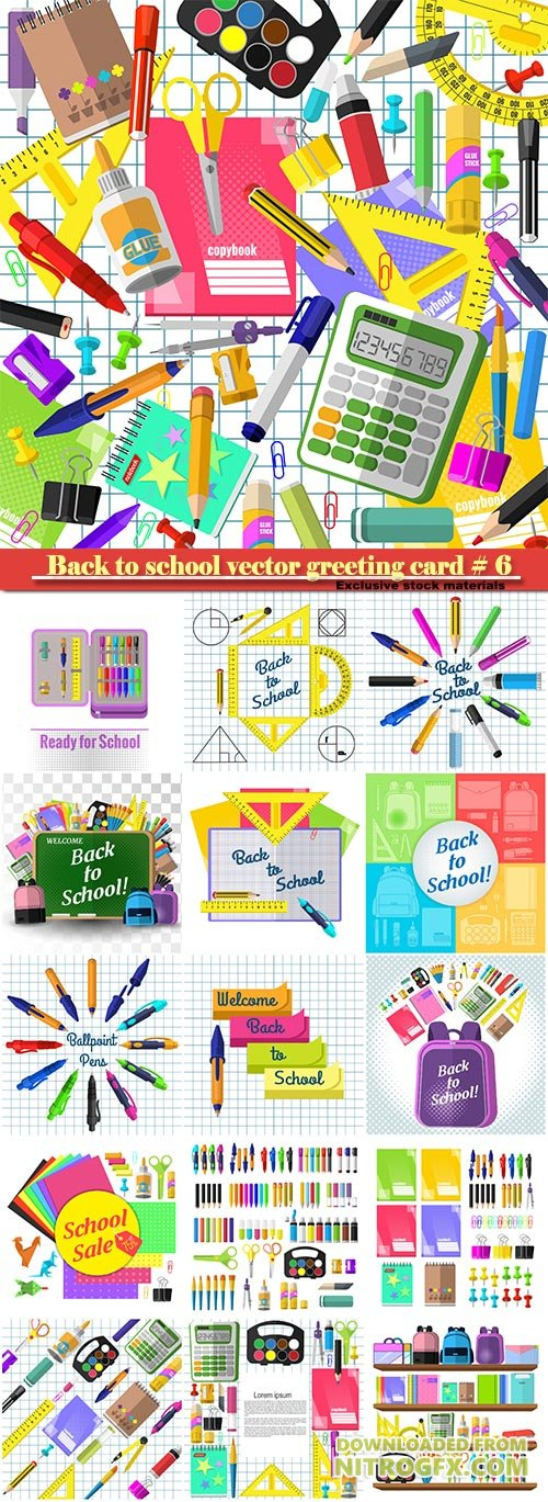 Back to school vector greeting card # 6