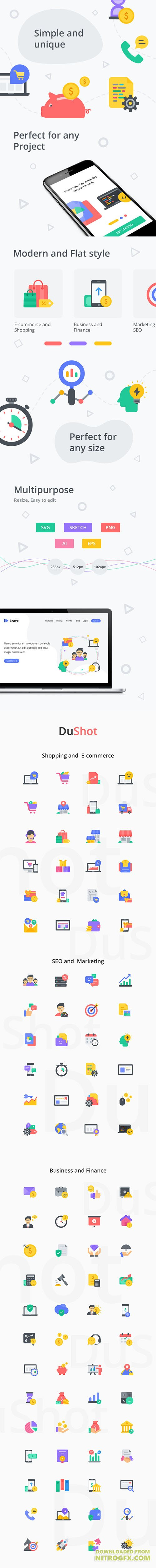 DuShot - Premium set of 100 money related flat styled illustrations