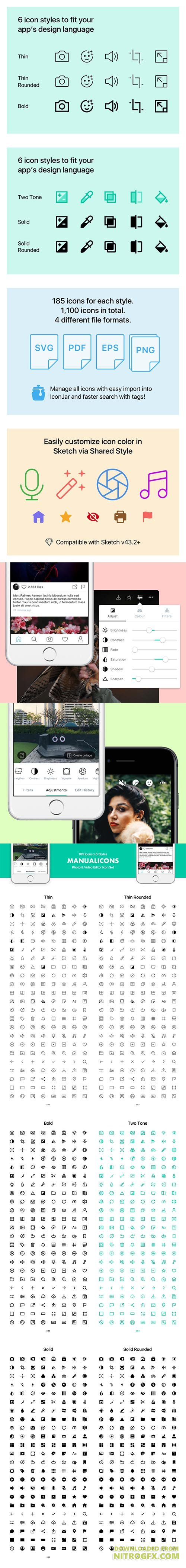 Manualicons - 185 Clean icons in 6 styles for your photo & video editor UI & more