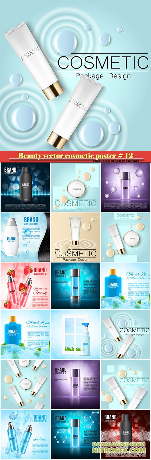 Beauty vector cosmetic product poster # 12