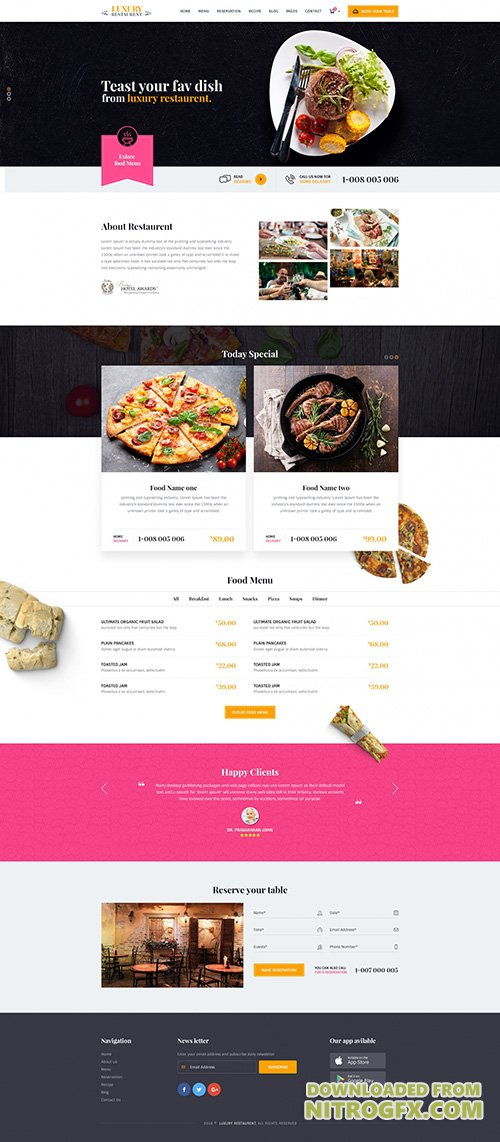 PSD Web Template - Luxury - Restaurant & Cafe Theme