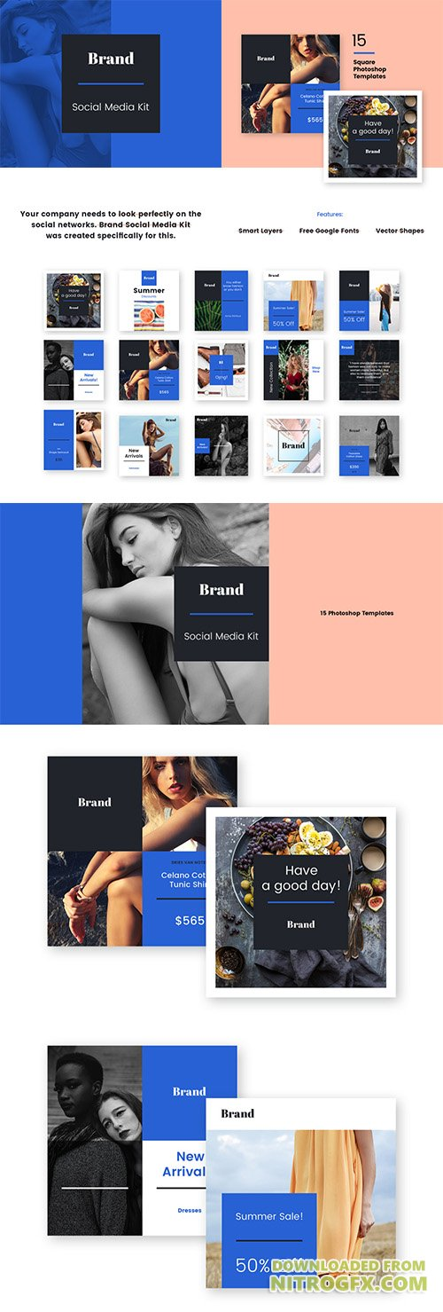 Brand Social Media Kit - 15 Unique Social Media Templates