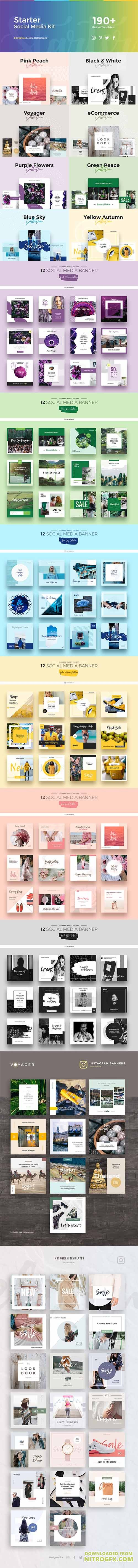 Starter Social Media Kit - Creative collection of banners for social media, advertising products and events