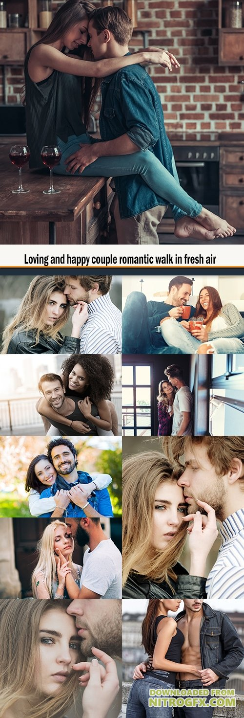 Loving and happy couple romantic walk in fresh air