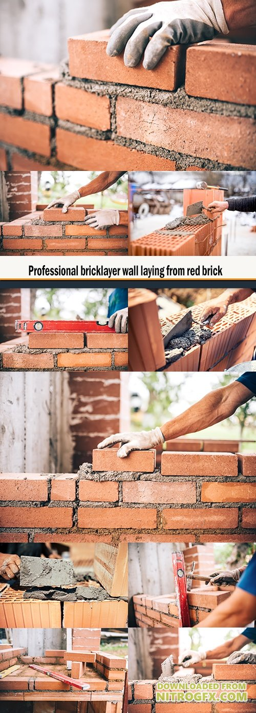 Professional bricklayer wall laying from red brick