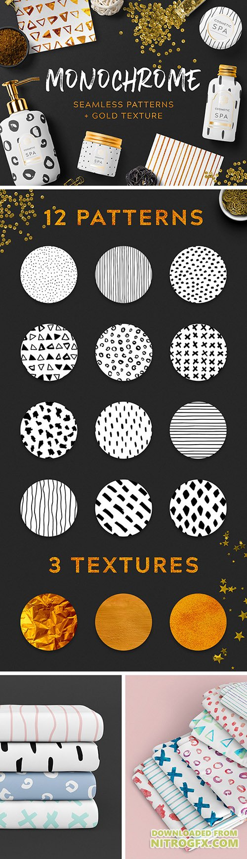 EPS, PNG, JPG Patterns - Monochrome Seamless