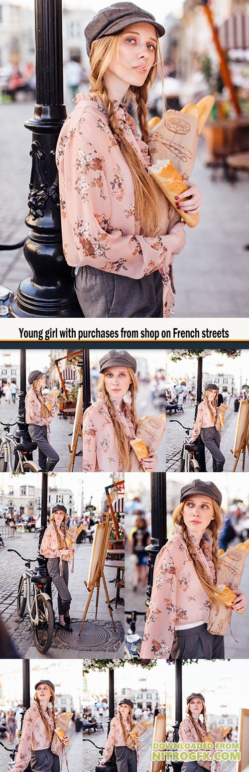 Young girl with purchases from shop on French streets