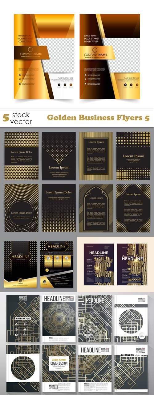 Vectors - Golden Business Flyers 5