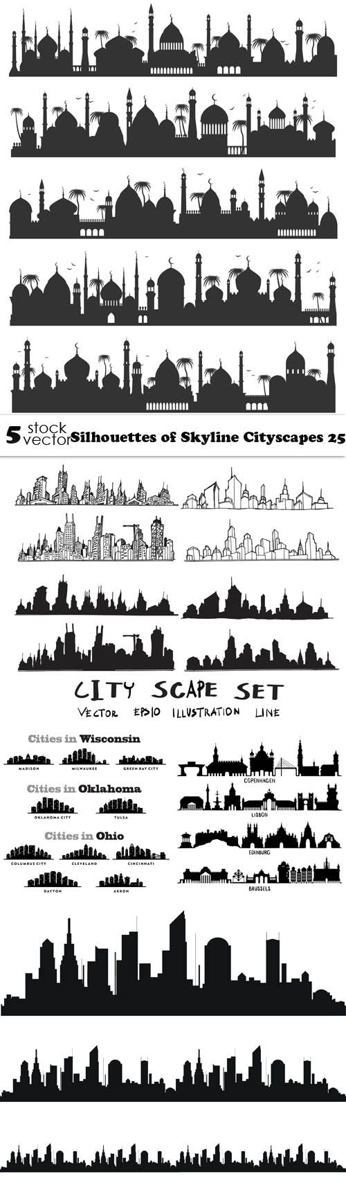 Vectors - Silhouettes of Skyline Cityscapes 25