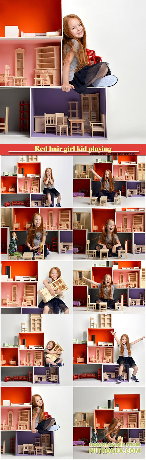 Red hair baby girl kid playing with dollhouse stuffed with mini furniture toys