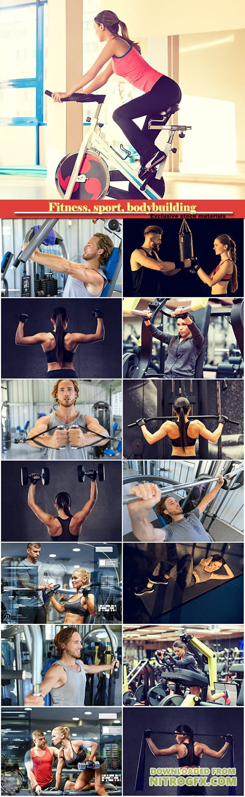 Fitness, sport, bodybuilding, exercising and people concept