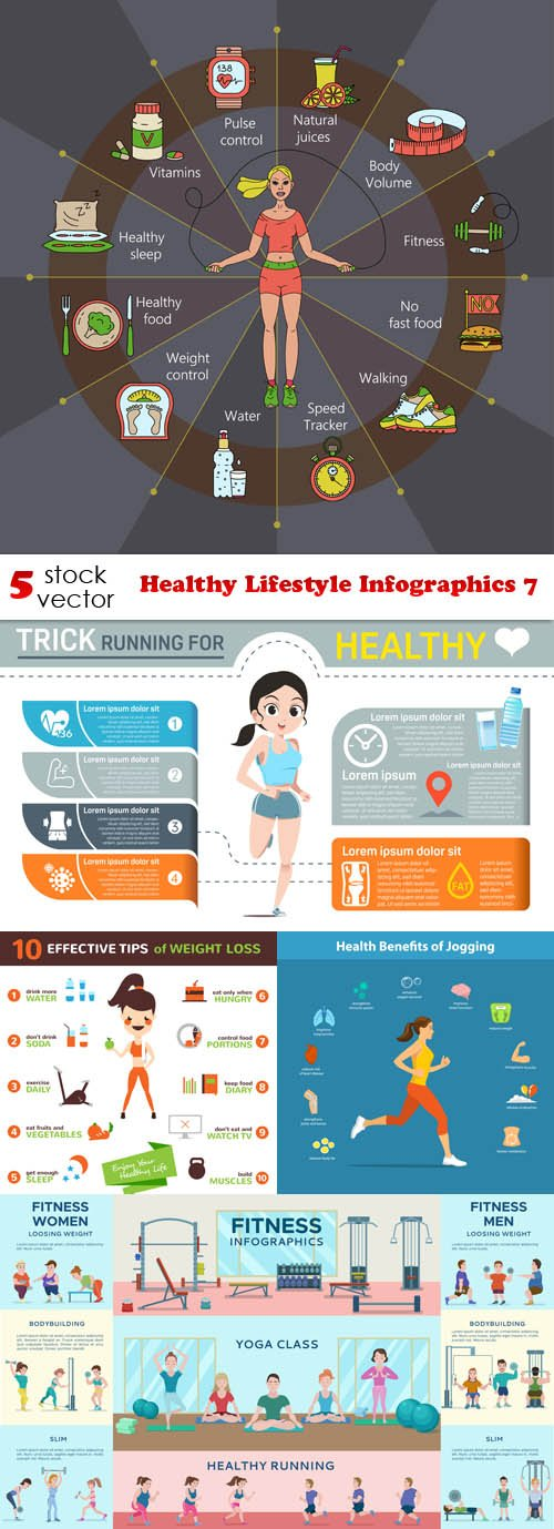 Vectors - Healthy Lifestyle Infographics 7