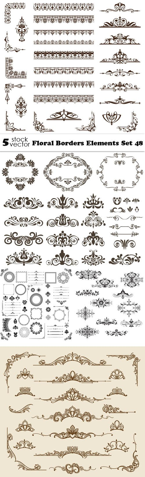 Vectors - Floral Borders Elements Set 48