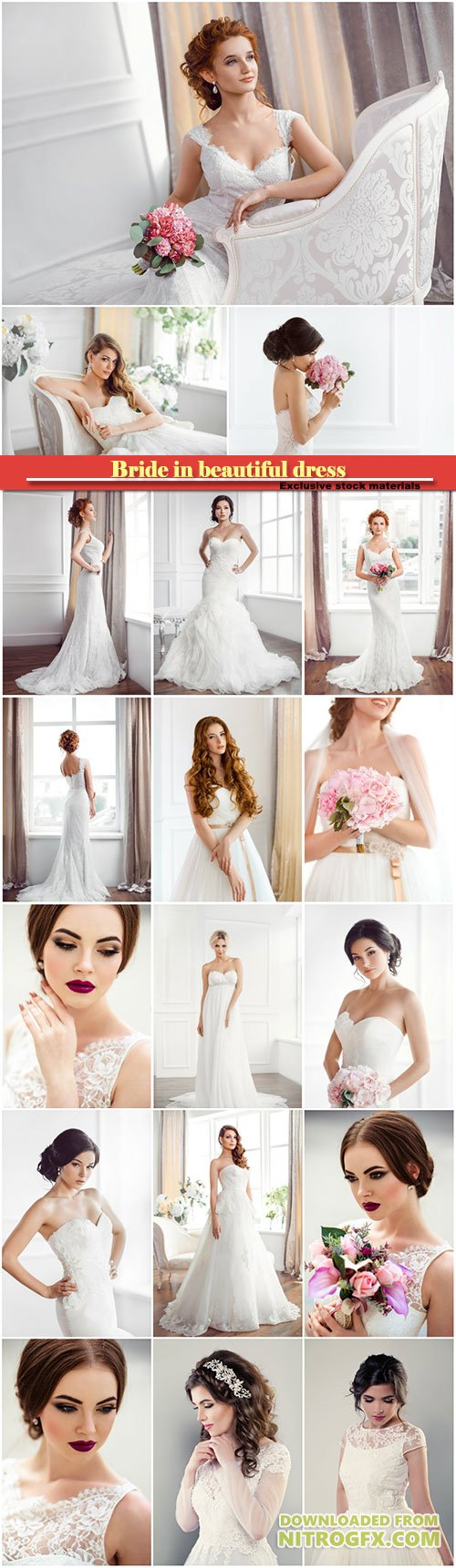 Bride in beautiful dress, trendy wedding style shot