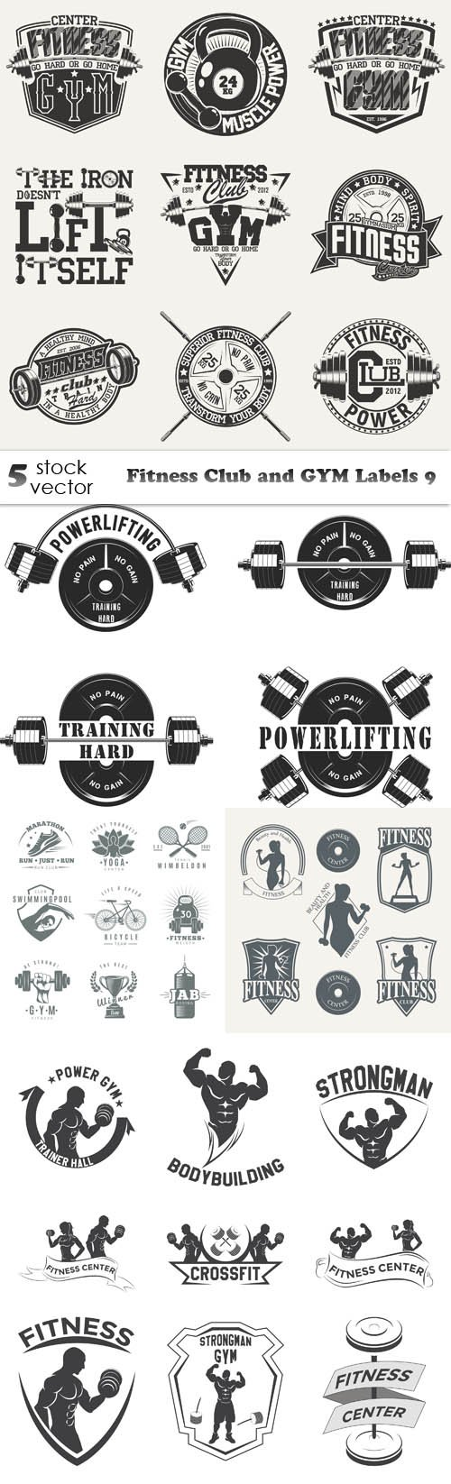 Vectors - Fitness Club and GYM Labels 9