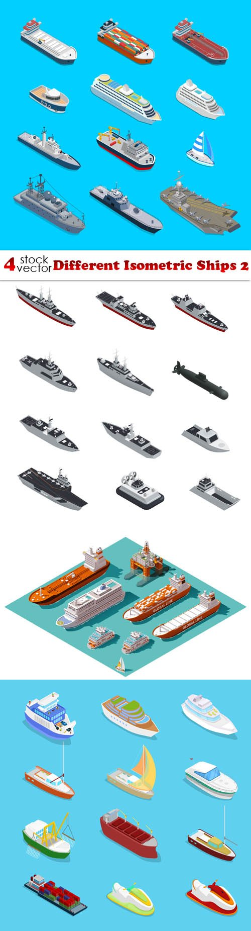 Vectors - Different Isometric Ships 2