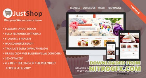 ThemeForest - Cake Bakery WordPress Theme - Justshop v7.64 - 4747148