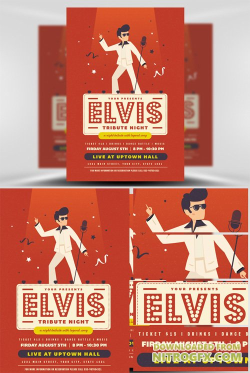 Elvis Night Flyer Template