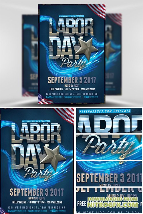 Labor Day Party Flyer Template v4