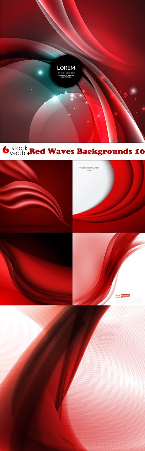 Vectors - Red Waves Backgrounds 10