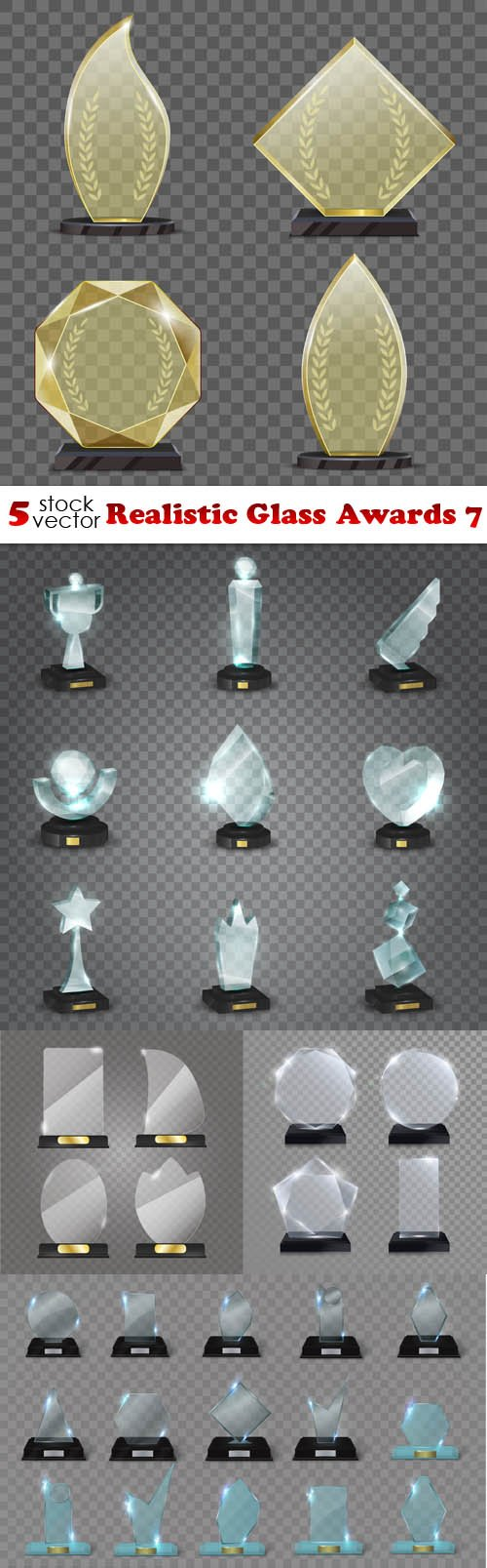 Vectors - Realistic Glass Awards 7