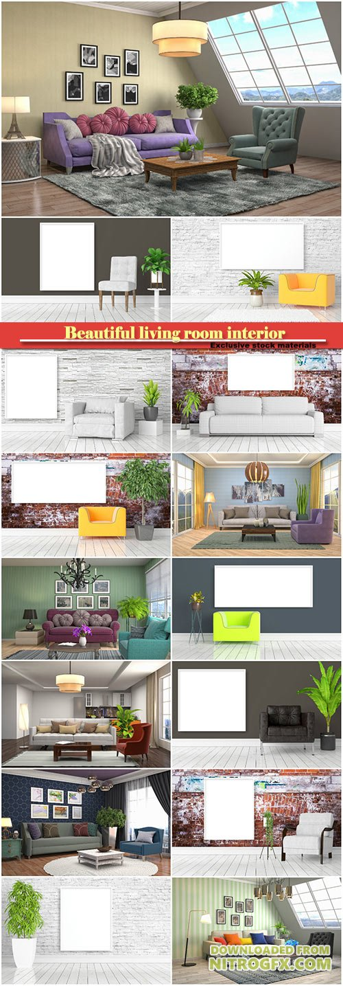 Beautiful living room interior with mock up poster frame, modern bright interior with empty frame