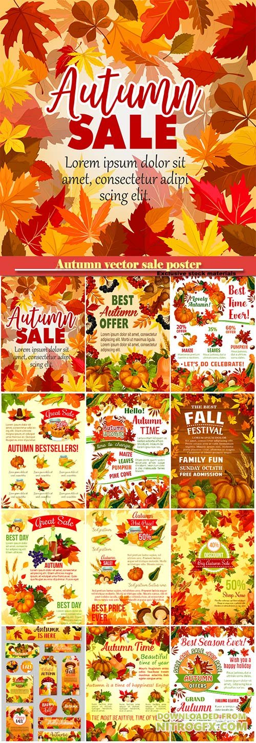 Autumn vector sale poster for seasonal shopping
