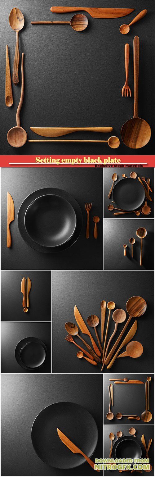 Setting empty black plate and wooden spoon, fork, knife on a black table