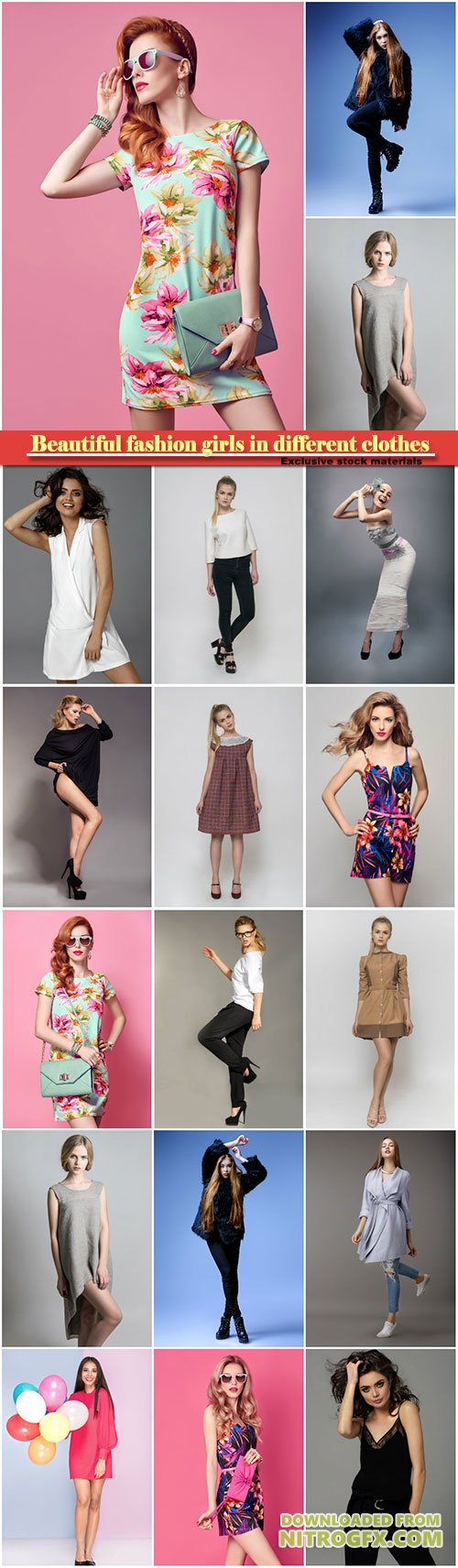 Beautiful fashion girls in different clothes